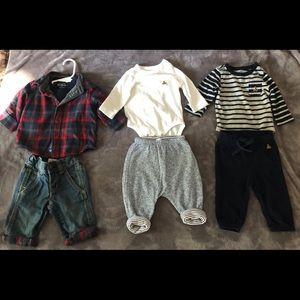 0 3 6 9 12 18 M BABY GAP Plaid Shirt Blue Shorts Outfit New Boy NWT